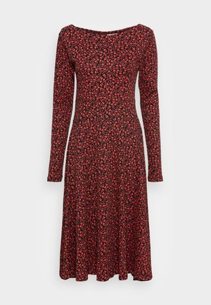 ORGANIC SIGRID DRESS - Vestido ligero - black/red fleurie