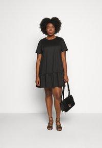 Simply Be - PONTE TSHIRT DRESS - Day dress - black - 1