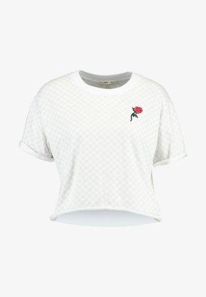 LEILA CHECK - Camiseta estampada - white
