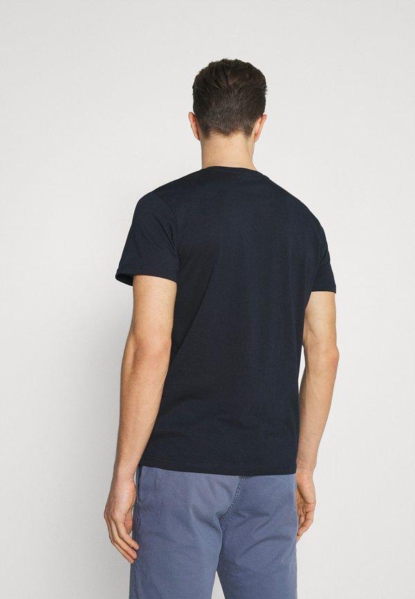 TOM TAILOR LOGO TEE - T-shirt z nadrukiem - dark blue/granatowy Odzież Męska HCCX