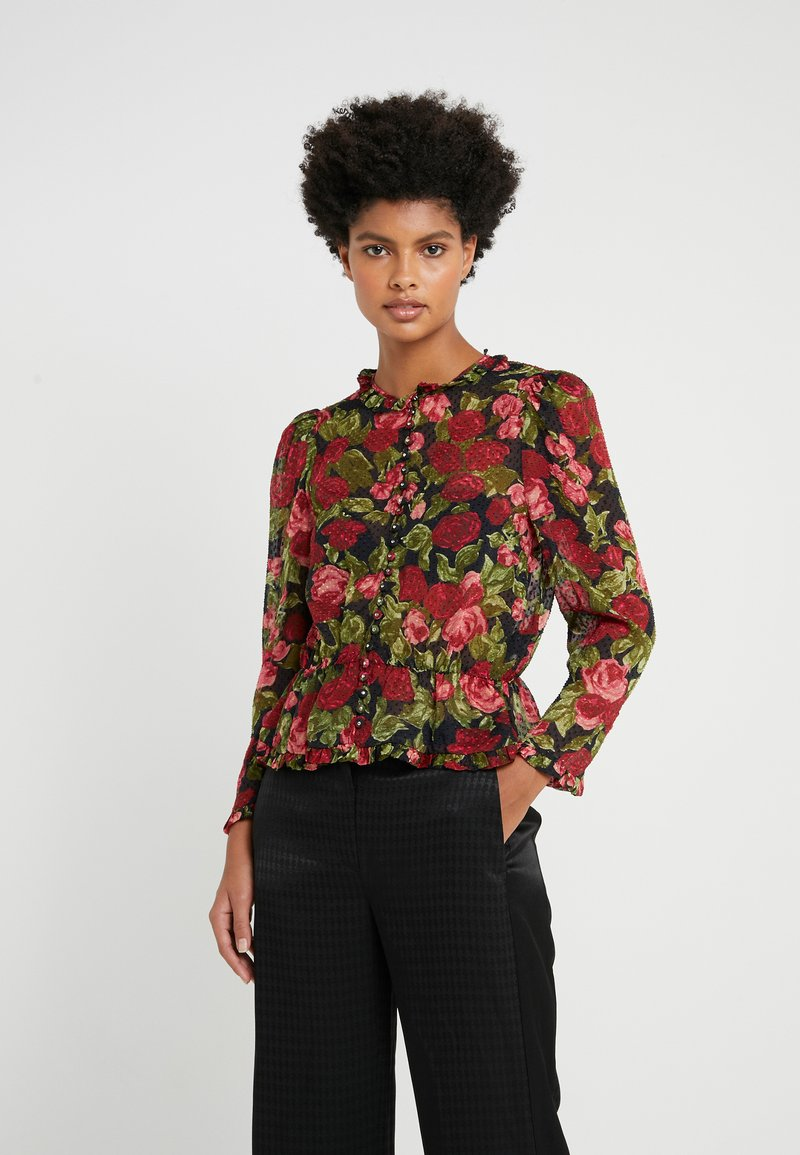 The Kooples - CHEMISE - Button-down blouse - black/red