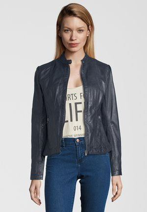 URSULA - Leather jacket - navy