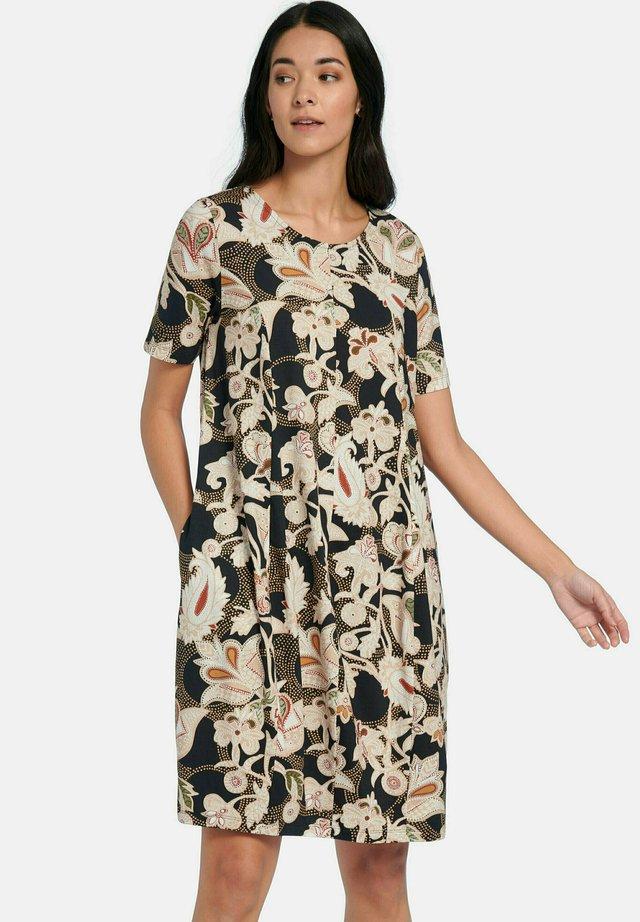 Korte jurk - schwarz ecru multicolor