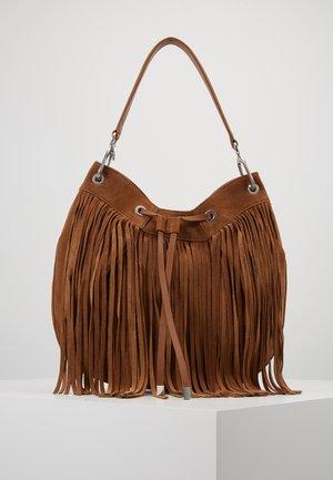 SIENNA HOBO FRINGE - Tote bag - med brown
