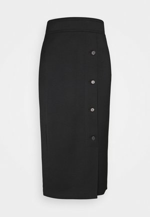 BUTTON DETAIL RECYCLED MIDI SKIRT - Pencil skirt - black