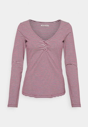 Long sleeved top - dark red/white