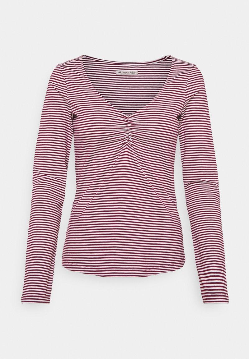 Anna Field - Pitkähihainen paita - dark red/white