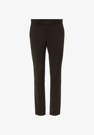 GRANT MICRO CHECK - Suit trousers - coffee black