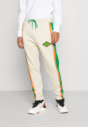 PANT - Jogginghose - oatmeal/lucky green/track red