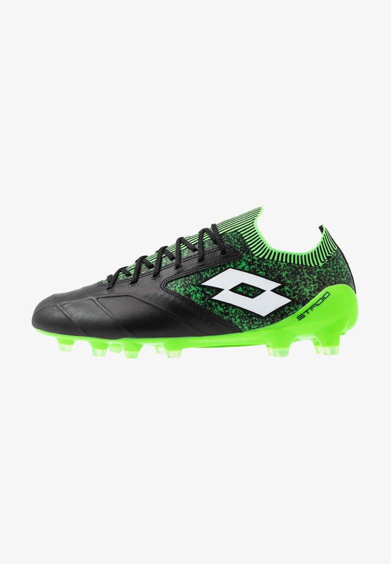 Lotto - STADIO 100 II FG - Botas de fútbol con tacos - all black/all white/spring green