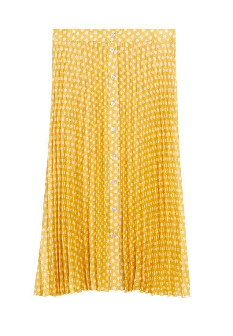 Violeta by Mango - POLKA DOTS - Pleated skirt - gelb