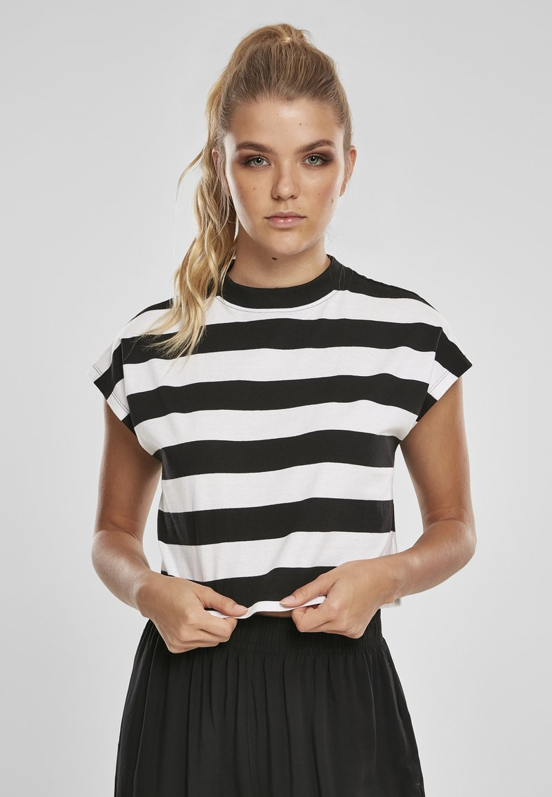 Urban Classics - STRIPE - T-shirt print - black/white