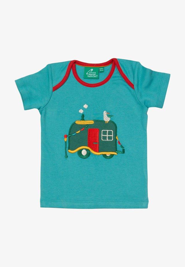 CAMPERVAN ADVENTURES APPLIQUE - T-shirt print - turquoise