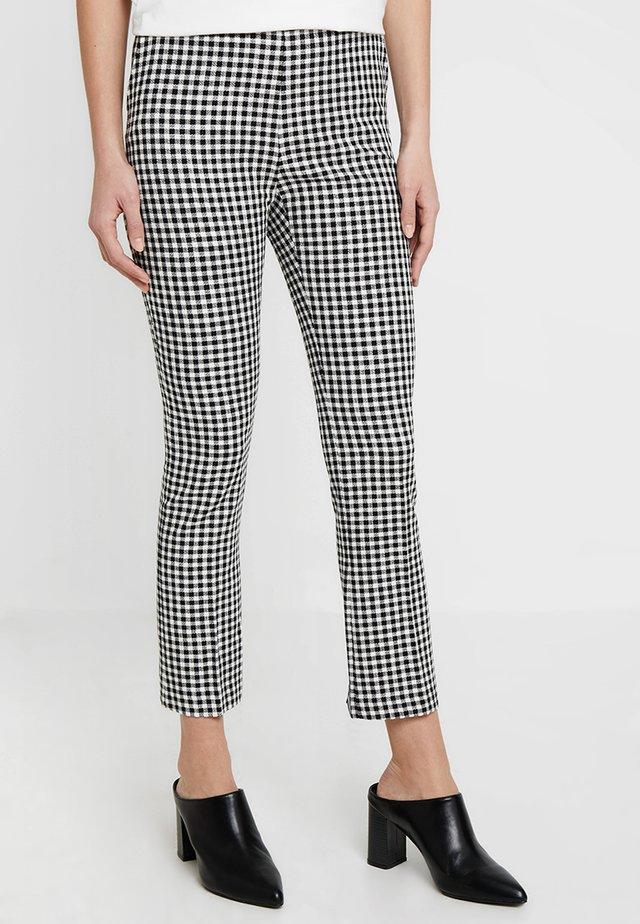 GINGHAM CHECKTROUSER - Trousers - black