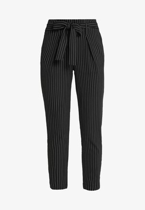 ONLNICOLE PINSTRIPE PANTS - Trousers - black