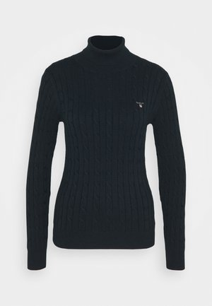 STRETCH CABLE TURTLE NECK - Svetr - evening blue