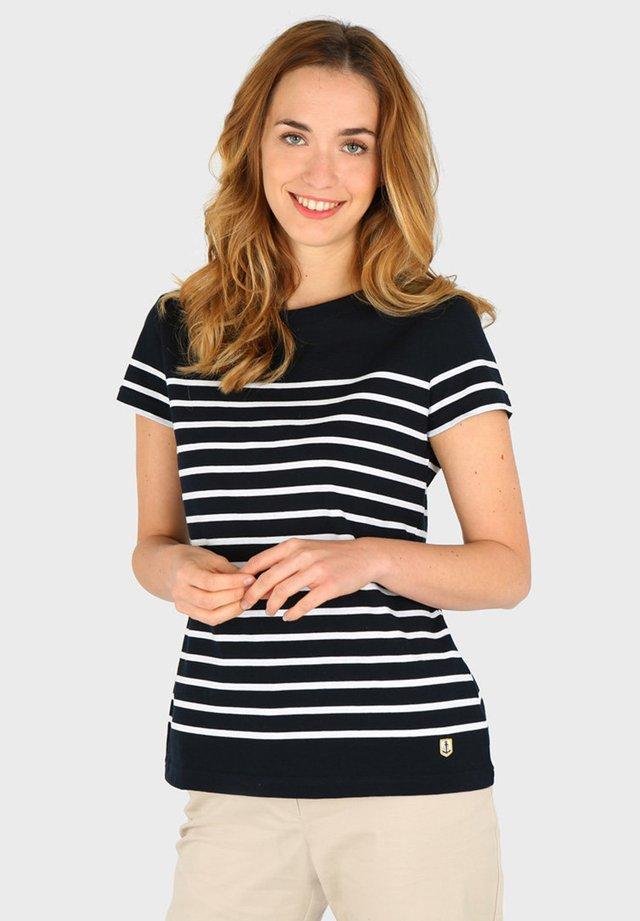 ETEL - MARINIÈRE - T-SHIRT - T-shirt imprimé - rich navy blanc