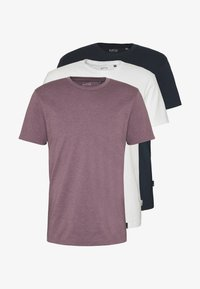 3 PACK - T-shirt basic - purple/black/white
