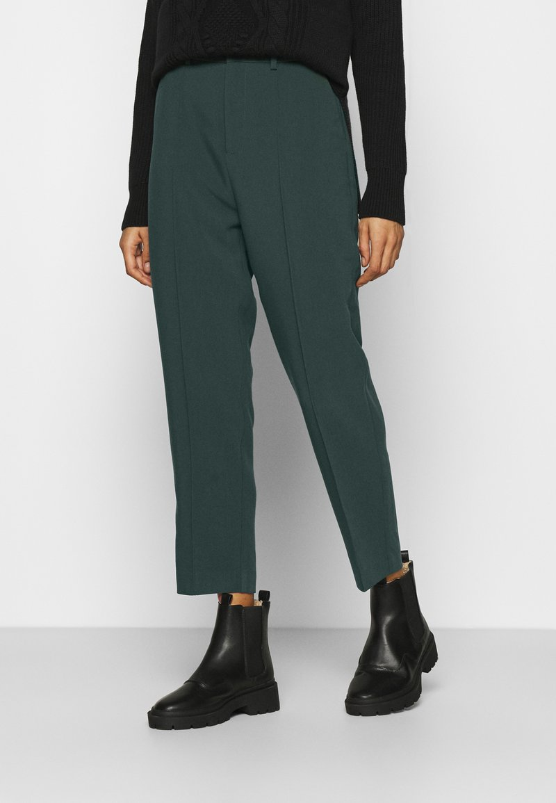 Anna Field - BASIC BUSSINESS PANTS WITH PINTUCKS  - Trousers - dark green
