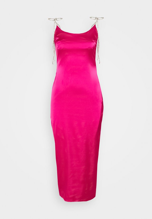 DIAMANTE TIE STRAP MIDI DRESS - Cocktail dress / Party dress - hot pink