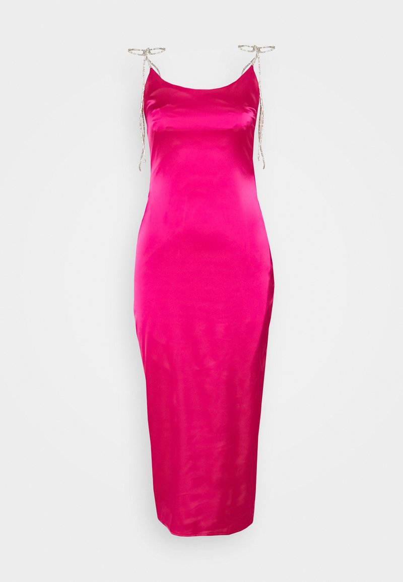 Missguided Tall - DIAMANTE TIE STRAP MIDI DRESS - Cocktail dress / Party dress - hot pink
