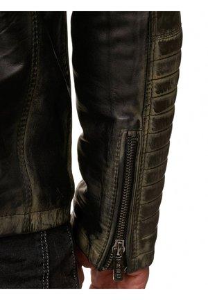 Leather jacket - khaki-schwarz