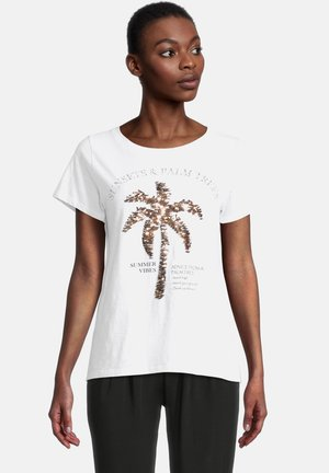 CASUAL SHIRT MIT RUNDHALSAUSSCHNITT - Print T-shirt - white/copper