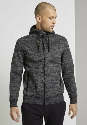 MIT INNENFUTTER - Zip-up hoodie - black grey mouline