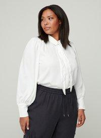 Zizzi - MIT BINDEDETAIL - Button-down blouse - off-white - 0