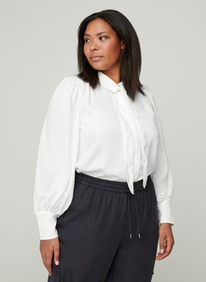 MIT BINDEDETAIL - Button-down blouse - off-white