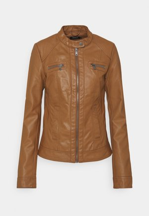 ONLBANDIT BIKER - Faux leather jacket - cognac