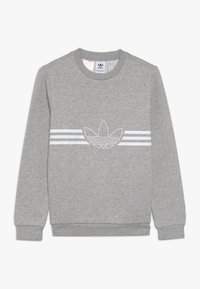 adidas Originals - OUTLINE CREW - Sweatshirt - medium grey heather/white - 0