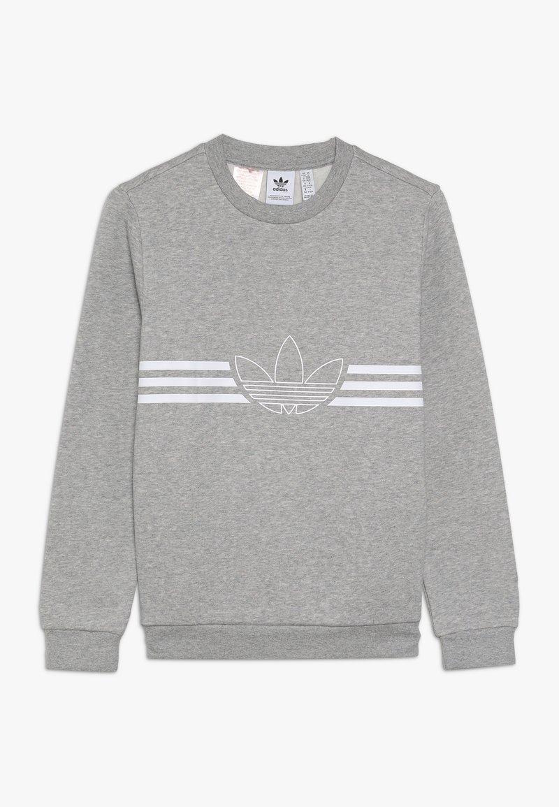 adidas Originals - OUTLINE CREW - Sweatshirt - medium grey heather/white