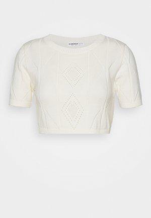 POINTELLE SHORT SLEEVE CROP - T-shirt con stampa - cream