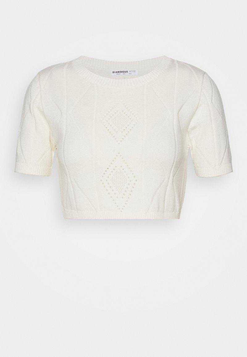 Glamorous Petite - POINTELLE SHORT SLEEVE CROP - Camiseta estampada - cream