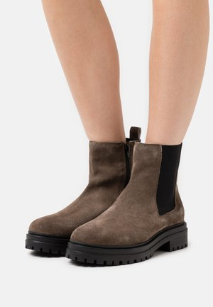 LEATHER  - Platform ankle boots - taupe