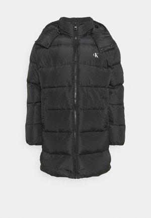 LONG HOODED JACKET - Down coat - black