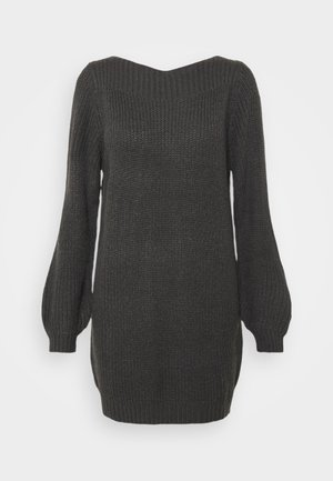 JDYWHITNEY MEGAN BOAT DRESS - Jumper dress - dark grey melange black ply