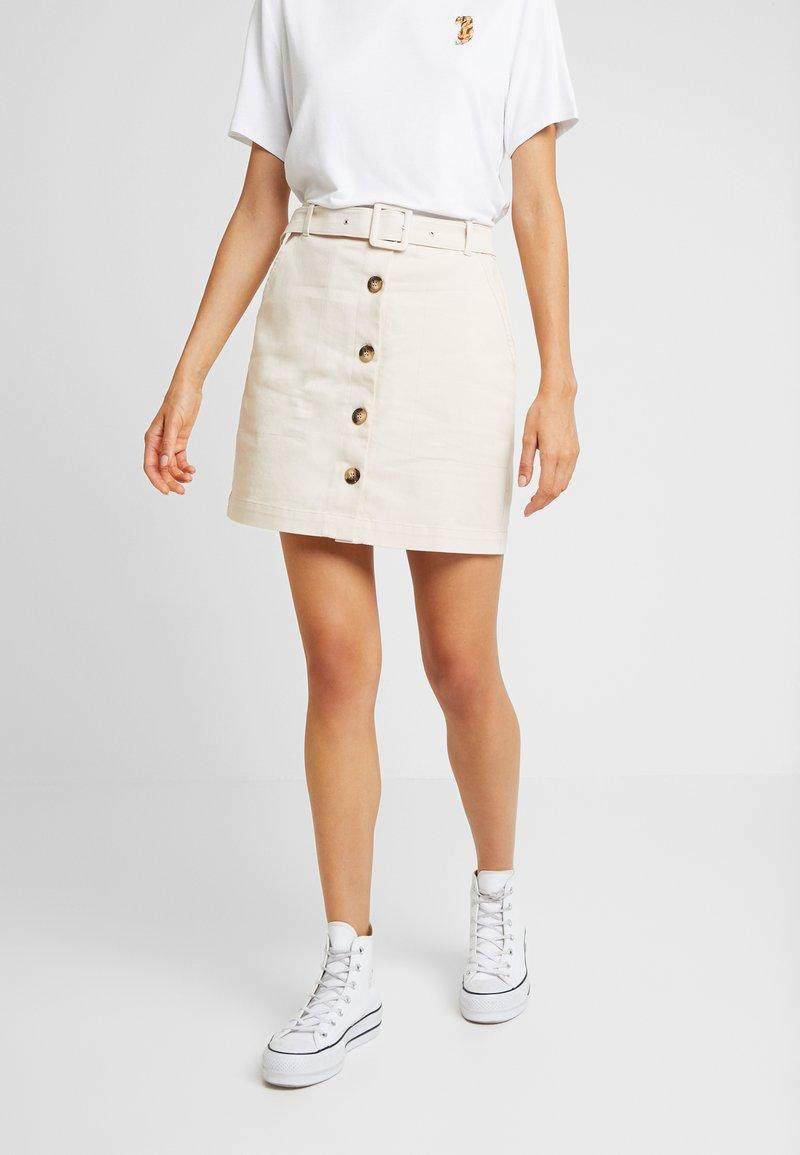 NA-KD - BELTED SKIRT - Mini skirt - sand