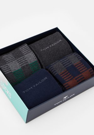 SOCKS CHECKS BOX  4 PACK - Socks - grey melange/dark blue