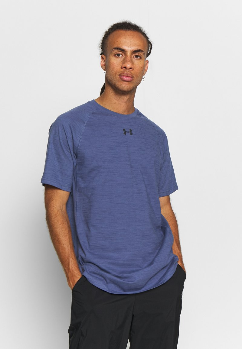 Under Armour - CHARGED COTTON SS - T-shirt basic - blue ink/black