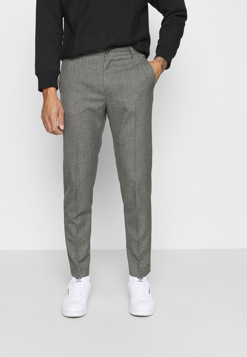 Calvin Klein Tailored - MOULINE GRID TAPERED PANTS - Trousers - khaki