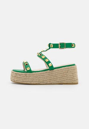 WIDE FIT MOXIE - Platform sandals - green