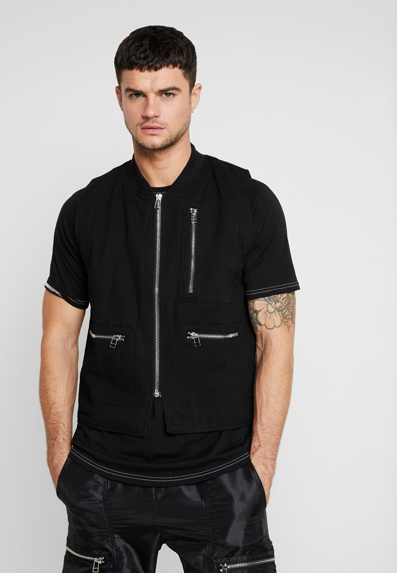 The Ragged Priest - QUILTED GILET - Vesta - black