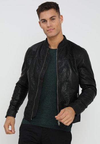 TRENTO - Kožená bunda - black