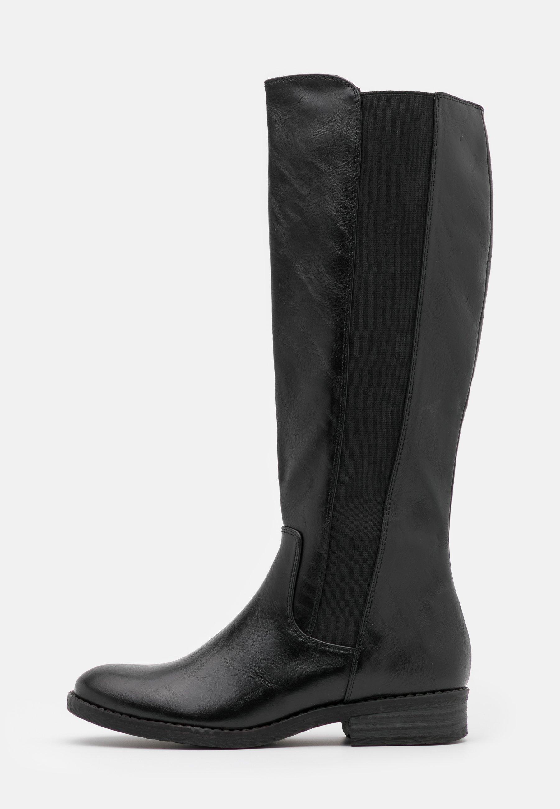 NeroGiardini I014074D Vitello BT Nero Stivali per Donna in Pelle con Lampo ed Elastici