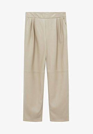SIENA - Leather trousers - licht/pastelgrijs