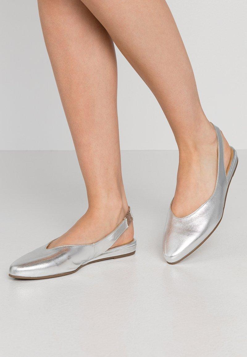 Tamaris - Slingback ballet pumps - silver