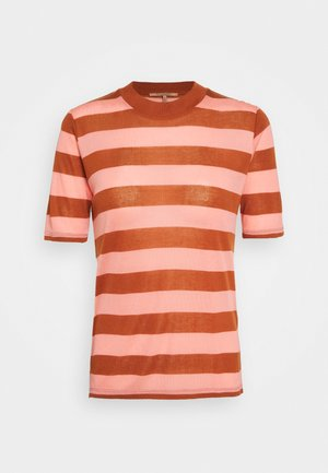 STRIPED TEE WITH HIGH NECK - Print T-shirt - brown/pink
