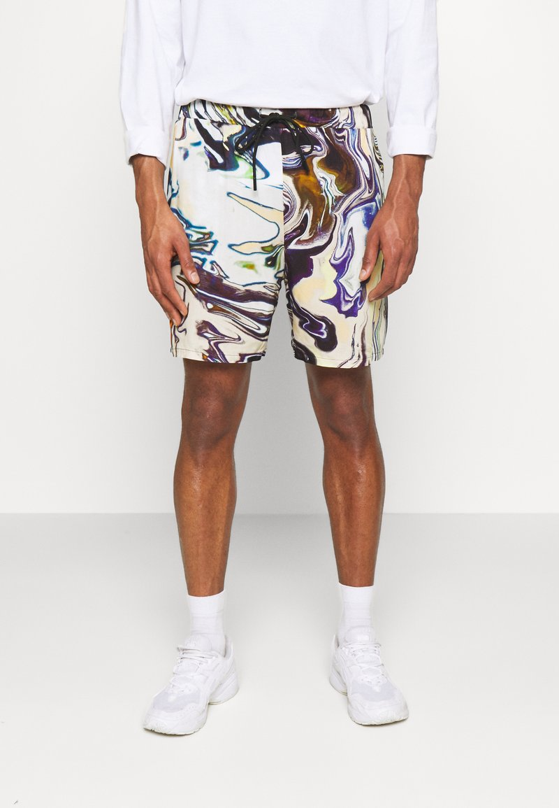 Vintage Supply - PULL ON IN TRIPPY OIL SLICK PRINT UNISEX - Shorts - multi coloured